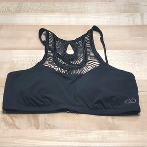 CALIA by Carrie Underwood Swim - Calia High Neck Crochet Bikini Top Black